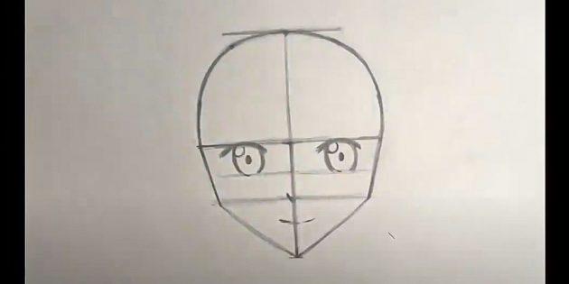 Нарисуйте лицо в общих чертах