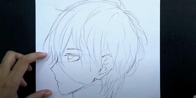 Как нарисовать лицо мальчика: нарисуйте волосы