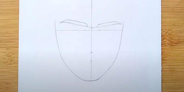Как нарисовать лицо мужчины: наметьте контуры бровей