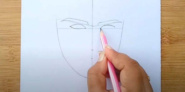 Как нарисовать лицо мужчины: под бровями нарисуйте глаза