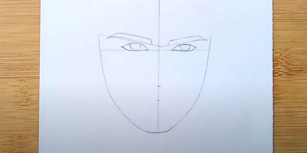 Как нарисовать лицо мужчины: внутрь глаз добавьте зрачки