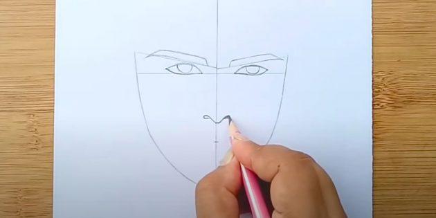 Как нарисовать лицо мужчины: изобразите кончик носа