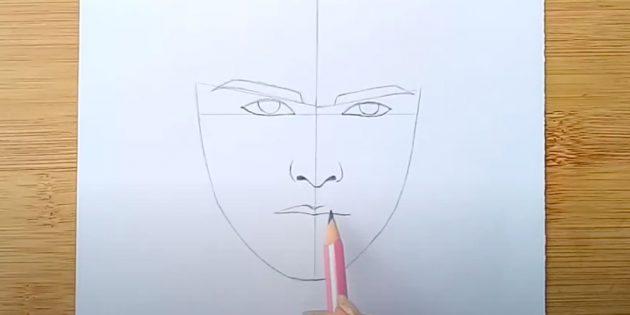 Как нарисовать лицо мужчины: проведите линию губ