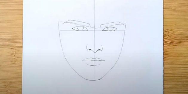 Как нарисовать лицо мужчины: нарисуйте нижнюю губу