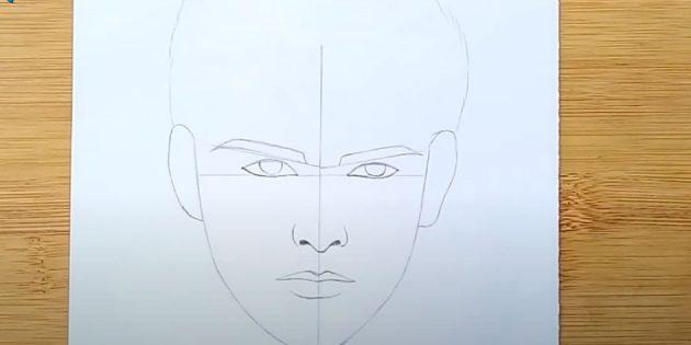 Как нарисовать лицо мужчины: изобразите уши