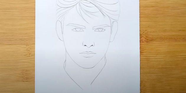 Как нарисовать лицо мужчины: нарисуйте шею и воротник