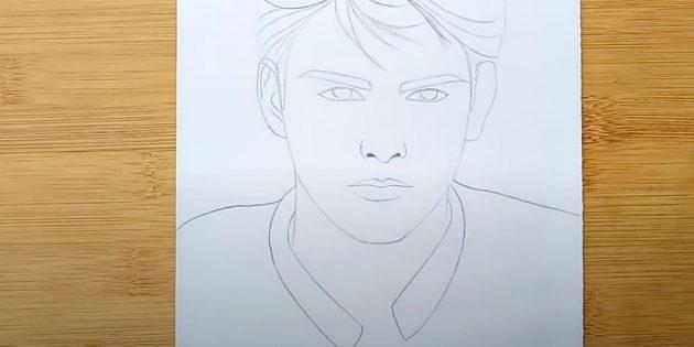 Как нарисовать лицо мужчины: нарисуйте плечи
