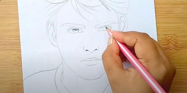 Как нарисовать лицо мужчины: закрасьте зрачки