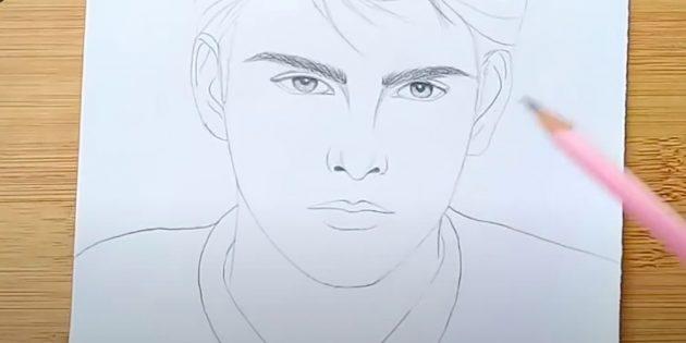 Как нарисовать лицо мужчины: нарисуйте брови