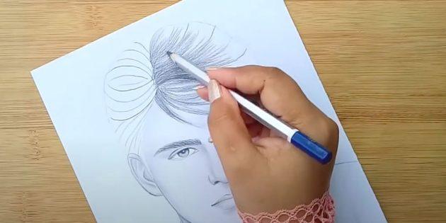 Как нарисовать лицо мужчины: проработайте каждую прядь волос
