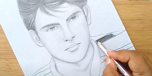 Как нарисовать лицо мужчины: нарисуйте полосы на футболке