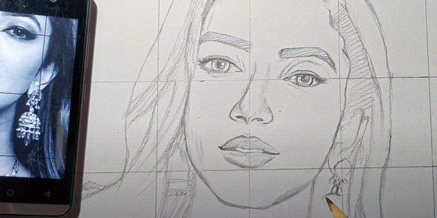 Как нарисовать реалистичное лицо девушки по фото с телефона