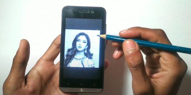 Как нарисовать лицо девушки: включите отображение сетки на смартфоне