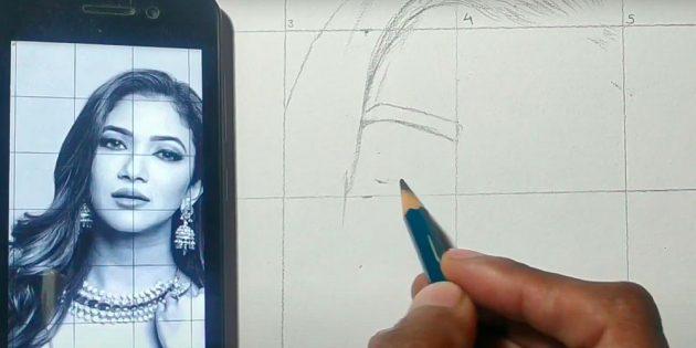 Как нарисовать лицо девушки: начните переносить рисунок
