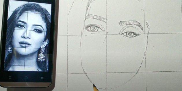 Как нарисовать лицо девушки: штрихами обозначьте ресницы