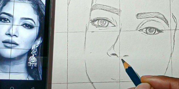 Как нарисовать лицо девушки: перейдите к носу