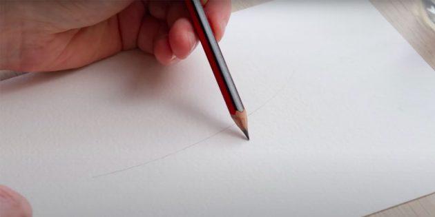 Как нарисовать подснежники: Наметьте контуры стеблей карандашом