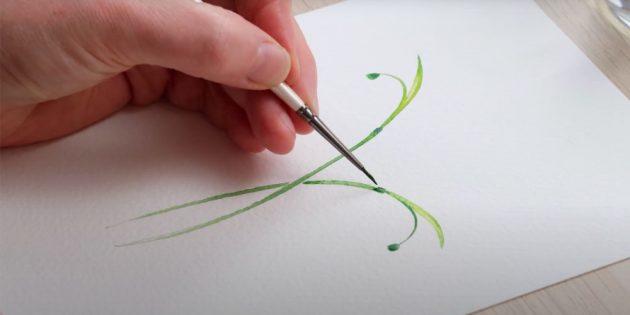 Как нарисовать подснежники: Нарисуйте зелёные утолщения