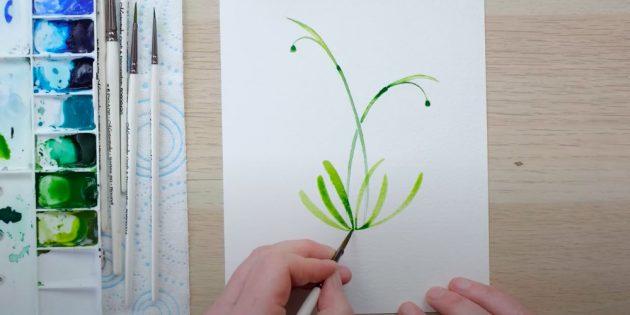 Как нарисовать подснежники: Изобразите листья