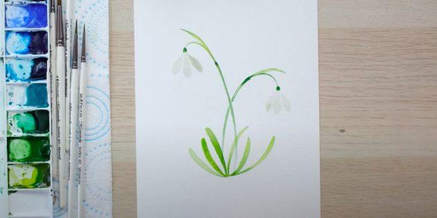 Как нарисовать подснежники: Нарисуйте по три лепестка у каждого цветка