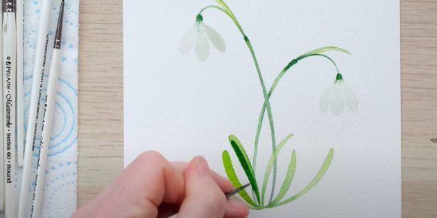 Как нарисовать подснежники: Нарисуйте тень на одном-двух листьях