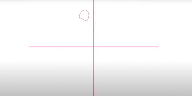 Как нарисовать подснежники: Найдите центр листа и начните рисунок