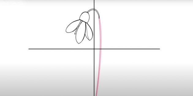 Как нарисовать подснежники: Нарисуйте стебель