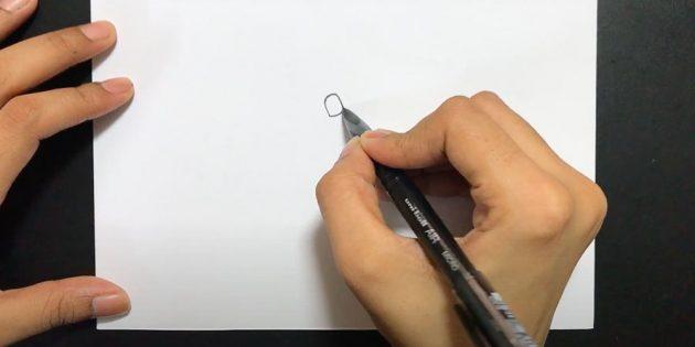 Как нарисовать подснежники: Нарисуйте узел, который соединяет стебель и цветок