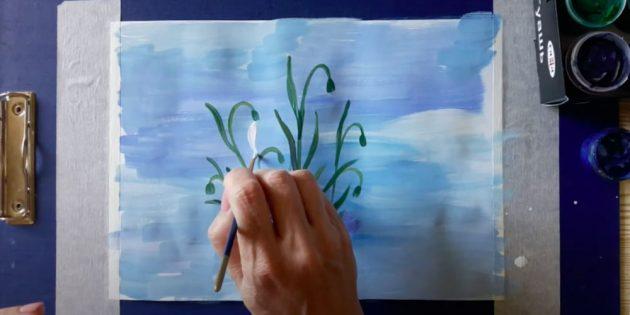 Как нарисовать подснежники: Белой краской нарисуйте первый лепесток