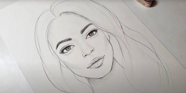 Как нарисовать реалистичное лицо девушки
