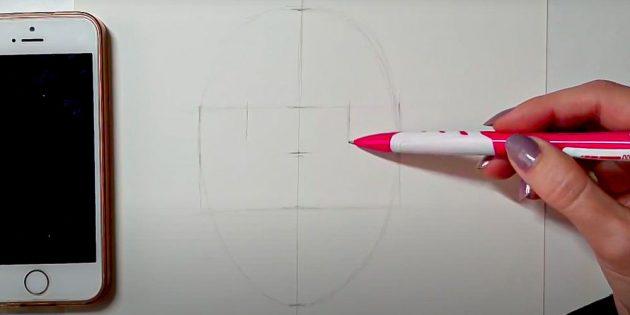 Как нарисовать лицо девушки: нарисуйте овал по точкам