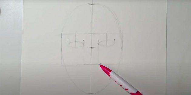 Как нарисовать лицо девушки: наметьте контуры глаз