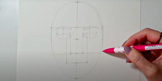 Как нарисовать лицо девушки: наметьте рот