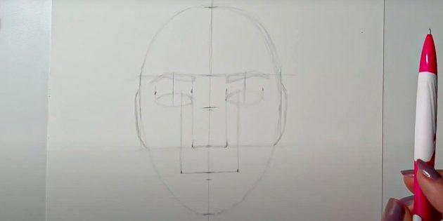 Как нарисовать лицо девушки: наметьте уши