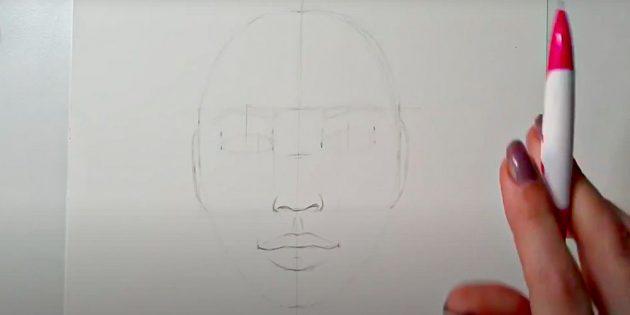 Как нарисовать лицо девушки: нарисуйте контур губ