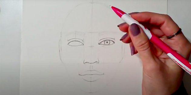 Как нарисовать лицо девушки: нарисуйте второй глаз