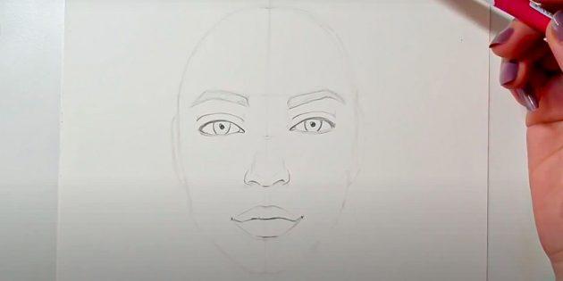 Как нарисовать лицо девушки: обведите контуры бровей
