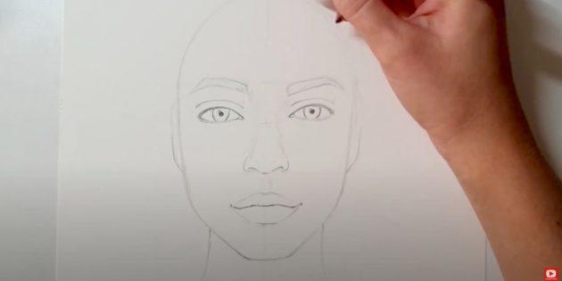 Как нарисовать лицо девушки: уточните контуры лица