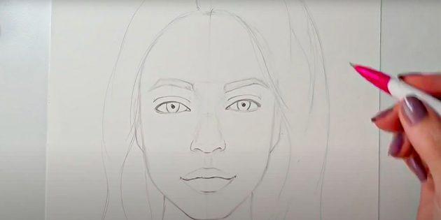 Как нарисовать лицо девушки: обозначьте контуры волос
