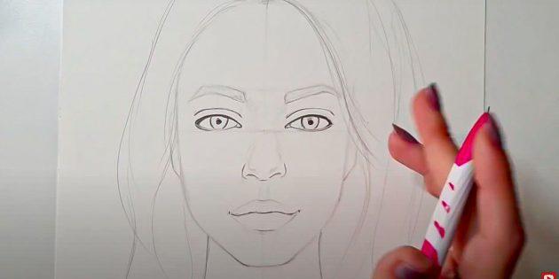Как нарисовать лицо девушки: обведите глаза