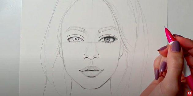 Как нарисовать лицо девушки: затонируйте глаза и губы