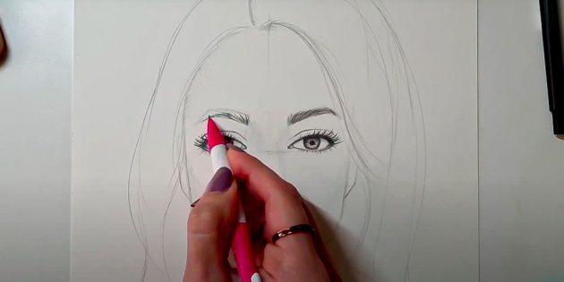 Как нарисовать лицо девушки: нарисуйте брови