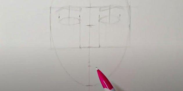 Как нарисовать лицо девушки: наметьте нос