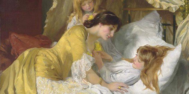 Поздравления маме с 8Марта: картина Mary Louisa Gow «Поцелуй на ночь»