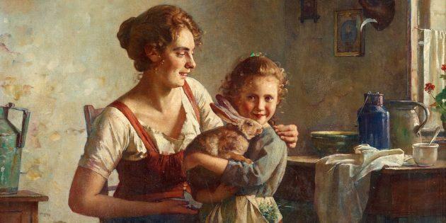 Картина Эдмунда Адлера «Кролик, мать и дитя»