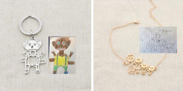 Вещи с возможностью персонализации: брелок или подвеска по детскому рисунку