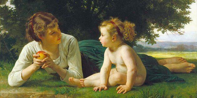 Поздравления маме с 8Марта: картина Вильяма Бугро «Искушение»