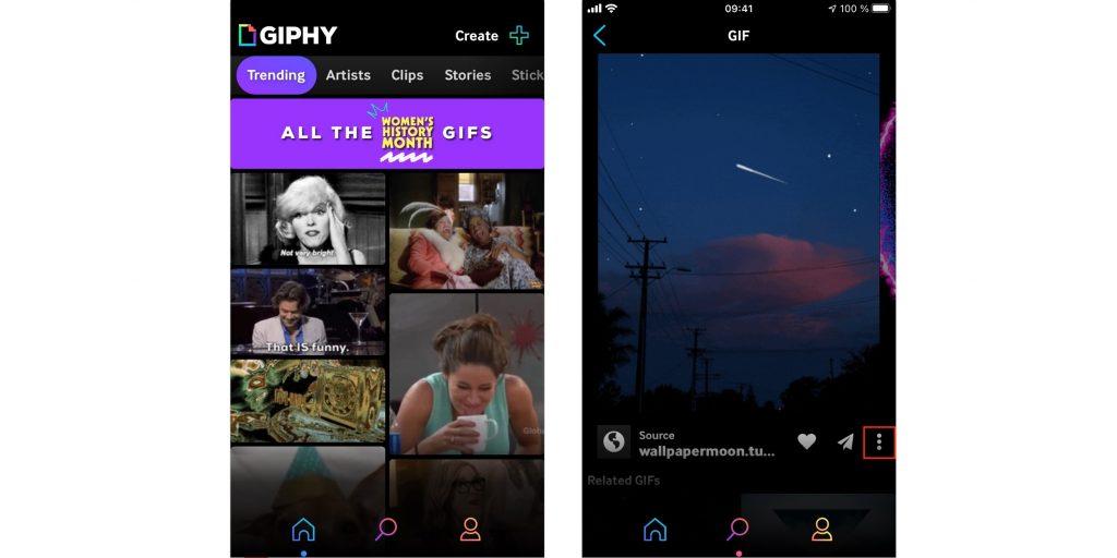 Экран блокировки iPhone: запустите Giphy и откройте меню