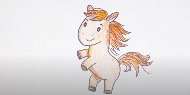 Мультяшная лошадь, вставшая на дыбы