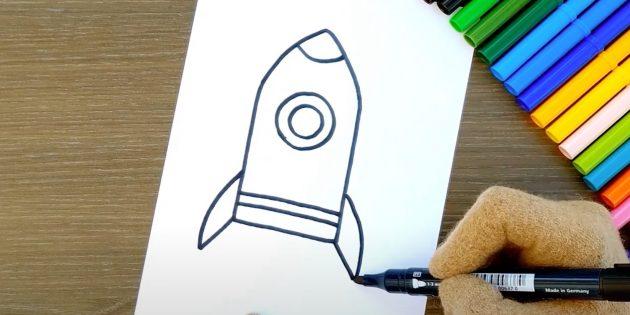 Как нарисовать ракету: добавьте иллюминатор и хвостовые крылья